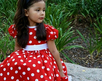 100% Cotton Red and White or Pink and White Polka Dot Minnie Mouse Dress with Matching Bow and Petticoat