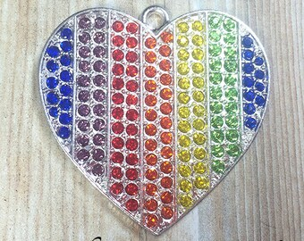 40mm, Rainbow Rhinestone Pendant, Heart Pendant, Rainbow Heart,  Rainbow Necklace, Chunky Necklace, DIY Necklace