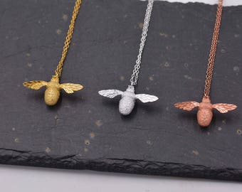 Beautiful Bumble Bee Necklace in Sterling Silver  16-  18''