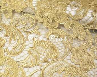 Dark Gold Floral lace Fabric - Floral Lace Fabric - Khaki Lace Fabric - Khaki Floral lace Fabric - L164