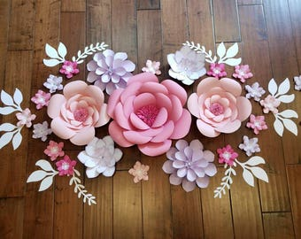 Pink and purple paper flower set