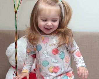 A-line raglan baby girl dress / Bunny Baloon dress / Long sleeve baby dress / Birthday Dress / Easter dress / T-shirt Dress