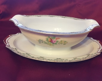 Vintage Hand Painted Gravy Boat Fine China Made in Japan Floral Design