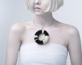 Paper jewelry, statement jewelry, choker with pendant, black paper and book paper pendant, unique jewelry for women, contemporary design