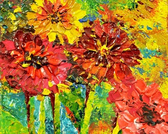 Аcrylic Painting Gerbera Flower Art - Original Painting Home Decor