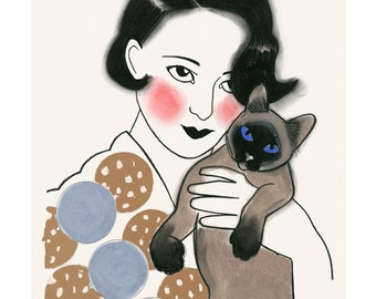 "Cat art -   Florentine and Tobias 4"" X 6"" print - 4 for 3 Sale"