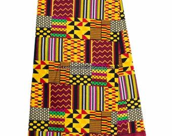 Faux Patchwork kente fabric per yard/ dark Red patchwork Kente print/ Kente Cloth/ Prom dress fabric/ African Fabric / KF314B