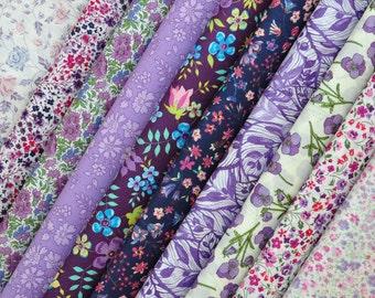 10 Liberty Tana Lawn - quilt scraps- 5''x5'' - PURPLE