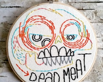 "orange & black DEAD MEAT skull - 6"" hand embroidered wall hanging"