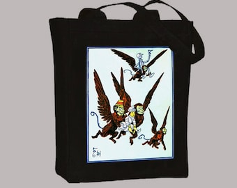 Vintage Wizard Of Oz Flying Monkeys Original Book Illustration BLACK or NATURAL Canvas Tote -- Selection of sizes available