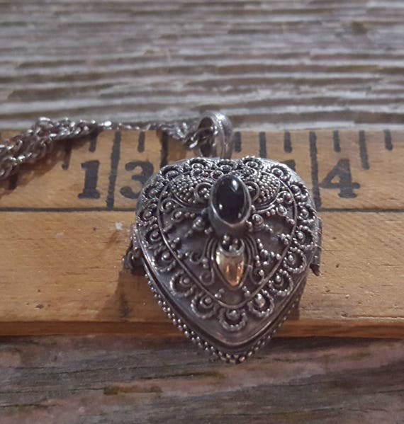 Sterling Heart Locket with Onyx