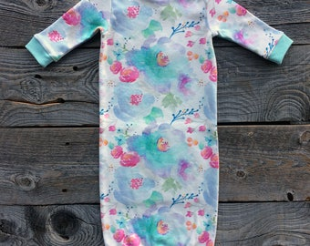 organic newborn gown, newborn gown, baby girl gown, floral newborn, purple newborn gown, organic baby clothes, baby girl gift, infant gown