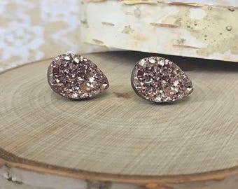Bridal Earrings - Teardrop Rose Gold Druzy - Wedding Jewelry