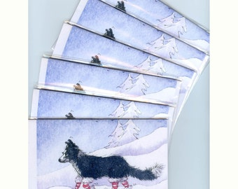 6 x Border Collie dog greeting holiday cards - leg warmers