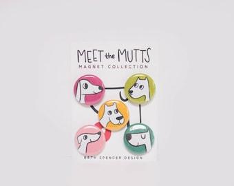 Dog Magnets / Dog Gift / Animal Magnets / Mutts / Gift for Dog Lover / Refrigerator Magnets / Pit Bull Magnets / Dog Art / Pit Bull