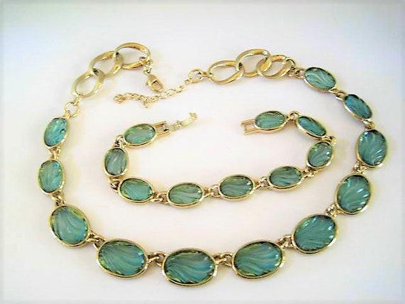 Blue Glass Jewelry Set, Necklace and Bracelet, Glass Swirl Settings, Gold Tone