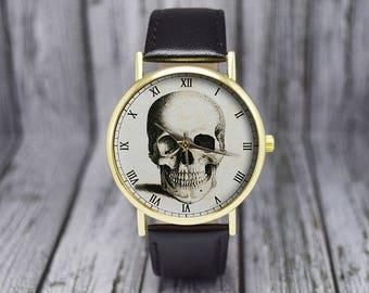 Vintage Skull Watch   Leather Watch   Ladies Watch   Men's Watch   Gift for Her   Birthday   Wedding   Gift Ideas   Fashion Accessories