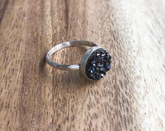 Black Druzy Ring, 10 mm Silver Druzy Ring, Druzy Ring, Black Drusy, Black Druzy, Druzy Jewelry