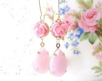 Pretty In Pink - Vintage Jewel Flower Earrings - Pink Rhinestone Earrings - Ruffled Rose - Bridal Earrings - Pink Dangle Earrings
