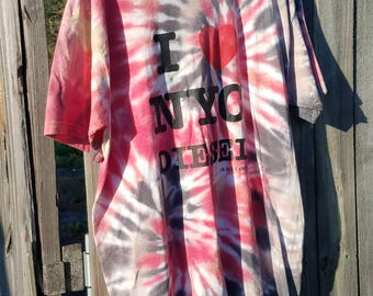 Hand Tied and Dyed Upcycled Straind Tshirt in Large