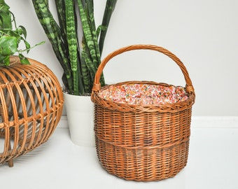 Vintage Market or Picnic Basket with Fabric Covering