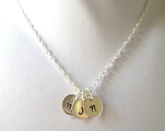 Personalized Three Initial Necklace -- Sterling Silver, Mother's Necklace, Bride/Bridesmaids Gift, Keepsake -- MADE TO ORDER