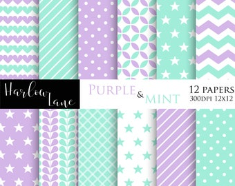75% OFF SALE Purple and Mint Digital Paper, Scrapbooking Digital Paper, Birthday Invitaions