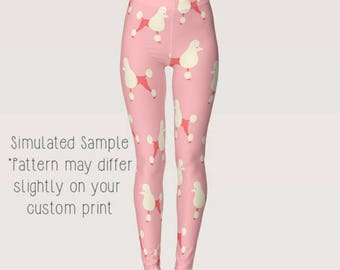 Pink Poodle Leggings, Custom, Yoga Pants, exercise, Animal, Dog, Pup, Puppy, Pets, Paws, Doggie, Dogs, breed, Standard XS-XL - Poodle 1
