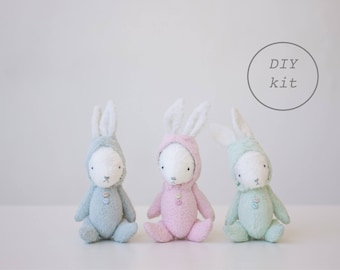 Green Plush Bunny 7 Inches DIY Kit Stuffed Animal Sewing Kit Easter Bunny Craft Kit Mohair Rabbit Soft Toys Crafter Gift Ready To Ship