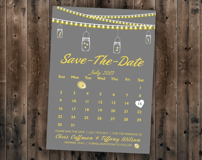 Calendar Country SAVE the DATE cards Printed - Cheap Save the Date cards, Affordable Save the Dates, Lights, Calendar, Gray, Yellow, Rustic