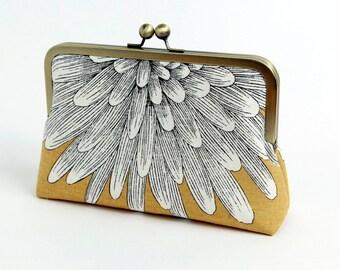 Chrysanthemum Clutch purse, Linen clutch, BagNoir, Wedding clutch, Bridesmaid gift idea, Evening purse, Bridesmaid clutch