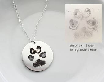 Paw Print Necklace - Paw Print Jewelry, Dogs Paw Print, Cats Paw Print, Engraved Paw Print, Pet Memorial, Paw Print Pendant, Actual Pawprint