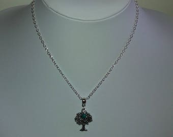Unique piece - silver tree and green pearl necklace