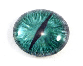 25mm Green and gray Dragon Glass Eye for Jewelry Making or Taxidermy Doll Sculptures Eyeball Flatback Circle Cabochon