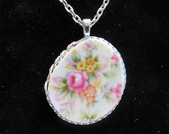 Wire Wrapped Broken China Floral Necklace