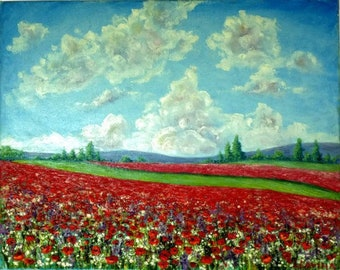 Landscape oil painting Red poppy flowers in village countryside. home decor housewarming gift picture. birthday gift Wedding. Grandparents