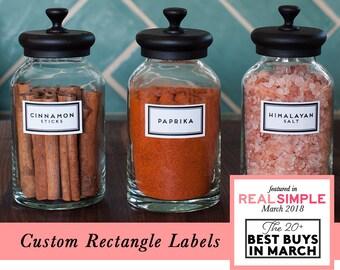 CUSTOM RECTANGLE pantry labels (white precut modern black)