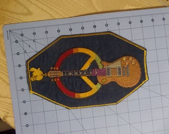 Hippe Guitar Peace Sign patch  6x10 inches