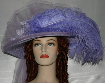 Kentucky Derby Hat, AscotHat, Tea Party Hat, Titanic Somewhere Time Hat Downton Abbey Hat Victorian Hat - Lavender Lily Crystal Fairy