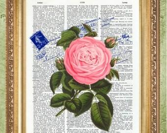 Flower Dictionary Art Prints Art Print Wall Decor Vintage Dictionary Print Dictionary Prints Floral Wall Decor a MHP Original
