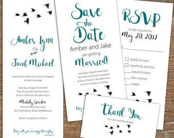 Birds in Flight Wedding suite, printable, customizable