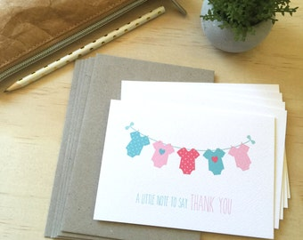 Thank You Baby Girl Card Pack - Girls Clothes - Set of 5 Cards - 5P003 - Baby Shower Thank You, Baby Girl Thank You Cards