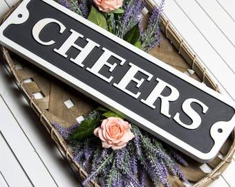 Cheers Wood Embossed Sign/Custom/Wedding/Bar