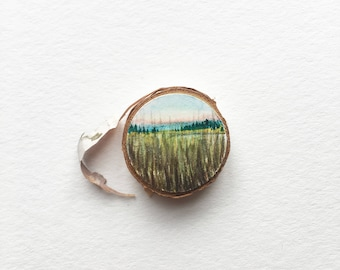 Original Miniature Landscape, Lake through Grass
