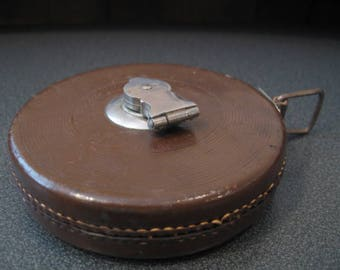 Vintage Lufkin Cloth Tape With Built In Leather Top Stitched Winding Case
