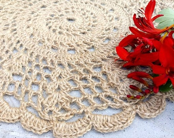 Free shipping/Crochet  jute cream color round place mat set of two/handmade table mats/home decor/table decorations/ready to ship