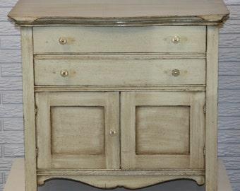Laurel Green Antique Washstand Cabinet