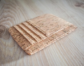 Natural Cork Card holder wallet, eco-friendly gift, gift for him