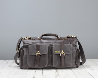 Personalised waxed canvas and leather overnight bag in grey