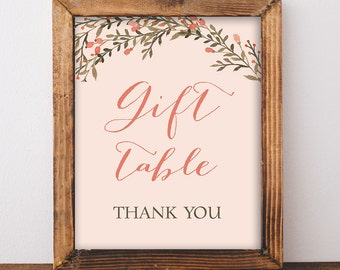 Gift Table Shower Sign, Peach Wreath Shower Sign, Wedding, Baby Shower Sign, INSTANT PRINTABLE